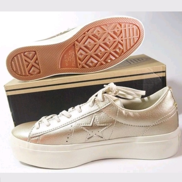 3f37ef4e437b2a Converse One Star Platform Ox GOLD Sneakers 9.5